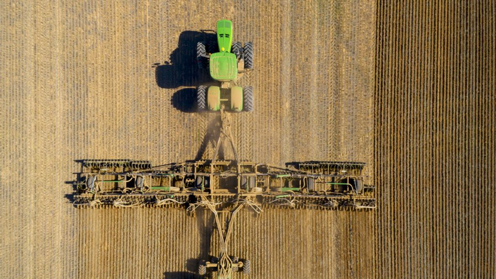 Close up of harvester from above