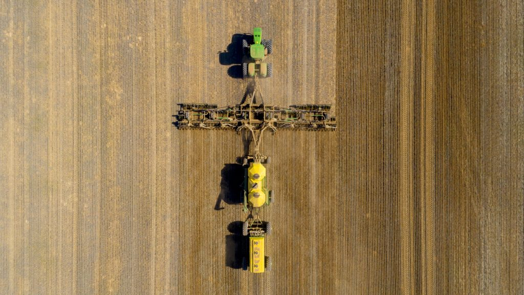Aerial shot of harvester